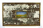 Rustic Pastels - Golden Mountain Range in frame constructed from salvaged wood from a home destroyed by Hurricane Kat by Cheryl Brumfield Knox