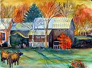 Cow Mixed Media Prints - Golden Ohio Print by Mindy Newman