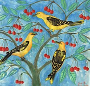 Sue Burgess Prints - Golden Orioles in a Cherry Tree Print by Sushila Burgess
