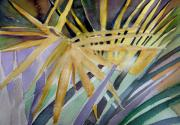 Sun Rays Drawings Prints - Golden Palms Print by Mindy Newman
