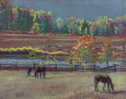 Horse Pastels Originals - Golden Pastures by Donald Maier