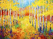Birch Tree Paintings - Golden Path by Marion Rose