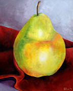 Pear Painting Acrylic Prints - Golden Pear Acrylic Print by Eileen Van der Merwe