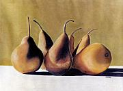 Shadows Pastels Posters - Golden Pears 2 Poster by Jan Amiss