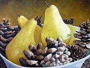 Painter Art Framed Prints - Golden Pears and Pine Cones Framed Print by Richard T Pranke