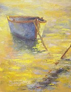 Row Boat Drawings - Golden Pond by Tom Forgione