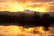 Sunsets Prints Framed Prints - Golden Ponds Longmont Colorado Framed Print by James Bo Insogna