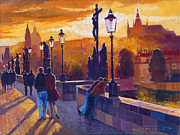 Charles Bridge Painting Framed Prints - Golden Prague Charles Bridge Sunset Framed Print by Yuriy  Shevchuk