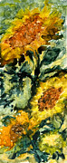 Field Of Sunflowers Paintings - Golden Rayed Flower by Joanne Smoley