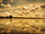 Dry Lake Prints - Golden Reflections at Moses Lake Print by Tara Turner