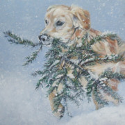 Golden Puppy Prints - Golden Retriever Christmas Greens Print by Lee Ann Shepard