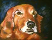 Golden Drawings Posters - Golden Retriever Forever Friend Poster by Susan A Becker