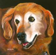 Dogs Drawings Posters - Golden Retriever Fur Child Poster by Susan A Becker