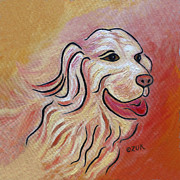 Tongue Art Painting Originals - Golden Retriever by Karen Zuk Rosenblatt