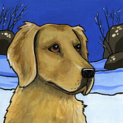 Snow Dog Posters - Golden Retriever Poster by Leanne Wilkes