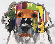 Mixed Media Collages Prints - Golden Retriever Lucky Print by Michel  Keck