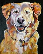 Happy Drawings Posters - Golden Retriever Most Huggable Poster by Susan A Becker