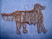 Dog  Sculpture Prints - Golden Retriever ornament Print by Charlene White