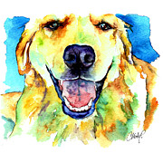 Happy Labrador Prints - Golden Retriever Portrait Print by Christy  Freeman