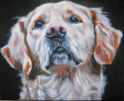Golden Puppy Prints - Golden Retriever portrait Print by Lee Ann Shepard
