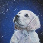 Xmas Painting Prints - Golden Retriever Pup in Snow Print by L A Shepard