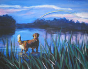 Golden Retriever Paintings - golden Retriever Rainbow by Lee Ann Shepard