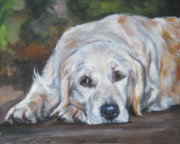 Golden Puppy Prints - Golden Retriever Resting Print by Lee Ann Shepard