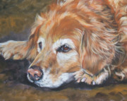 Puppy Painting Prints - Golden Retriever Senior Print by Lee Ann Shepard