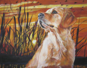 Golden Puppy Prints - Golden Retriever Sunset Print by Lee Ann Shepard