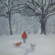 Original  Paintings - Golden Retriever winter walk by Lee Ann Shepard