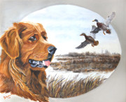 Mallard Ducks Paintings - Golden Retriever with Marsh Scene by Johanna Lerwick