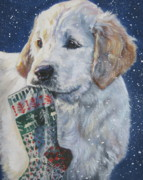 Golden Puppy Prints - Golden Retriever With Xmas Stocking Print by L A Shepard