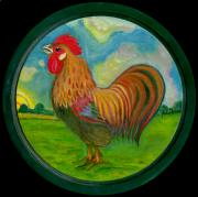 Rural Living Painting Posters - Golden Rooster Poster by Anna Folkartanna Maciejewska-Dyba