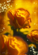 Flowers Scent Digital Art - Golden Roses by Svetlana Sewell