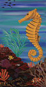 Diving Horse Prints - Golden Seahorse Print by Marty  Calabrese