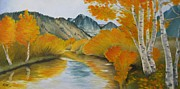 Birch River Prints - Golden Serenity Print by Jindra Noewi
