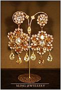 Gold Earrings Art - Golden Shadow and Crystal Pear Flower Chandeliers by Janine Antulov