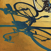Linda Apple Metal Prints - Golden Shadows - Wheels Metal Print by Linda Apple