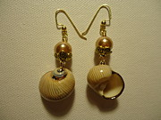 Cream Jewelry Prints - Golden Shell Earrings Print by Jenna Green