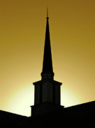 Cml Brown Posters - Golden Sky Steeple Poster by CML Brown