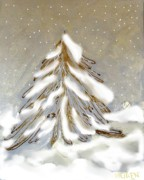 Snow Posters Prints - Golden Snow Covered Tree Print by Marsha Heiken
