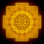 Chi Digital Art Posters - Golden Sri Yantra Poster by Dirk Czarnota