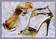 Stilettos Paintings - Golden Studded Stilettos by Elaine Plesser
