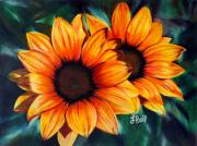 Sunflowers Drawings - Golden Sun by Laura Bell