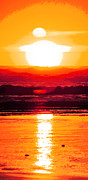 Dusk Digital Art Originals - Golden Sunset Illustration by Phill Petrovic