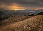 San Francisco Bay Photo Prints - Golden Sunset Over San Francisco Bay Print by Sean Duan