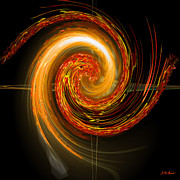 Mathematical Digital Art Prints - Golden Swirl Print by Michael Durst