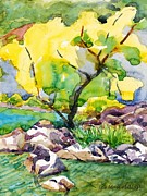 Prescott Paintings - Golden Tree at Goldwater Lake by Gurukirn Khalsa