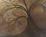 Tree Roots Paintings - Golden Tree of Life by Karen Ahuja