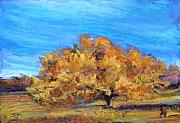 Autumn Landscape Pastels - Golden Tree by Susan Jenkins
